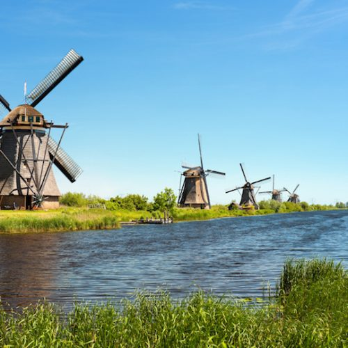 A windmills at Kinderdijk. GPS information is in the file